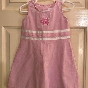 Other - Girls Pink Seersucker UNC Tarheels Dress Sz 3T
